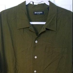 NWOT Brandini men's green silk button down Medium